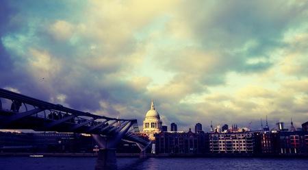 st pauls: St Pauls looking across Millenium bridge, London, taken 2011. Stock Photo