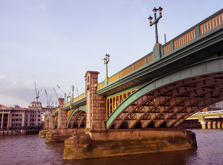 southwark: The south side of Southwark bridge, the Thames, London, UK. Stock Photo