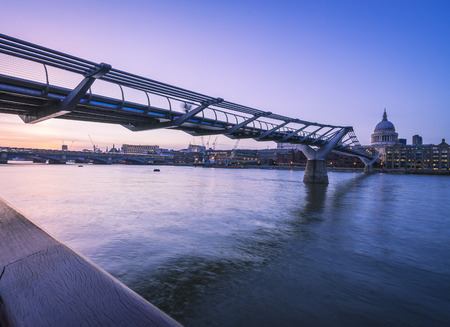 blackfriars bridge: Looking down from the south bank from Millenium bridge to Blackfriars bridge. Stock Photo
