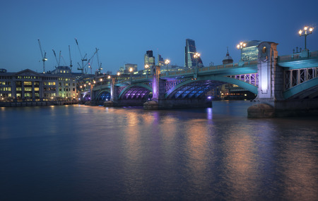southwark: The south side of Southwark bridge, the Thames, London, UK. Stock Photo