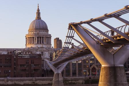 st pauls: Looking across Millenium bridge to St Pauls on a summer evening