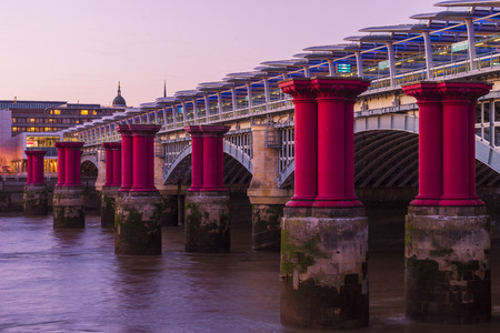 blackfriars bridge: Blackfriars bridge with columns of purple pillars next to it