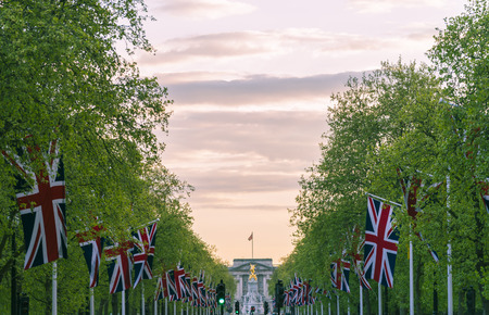 Lines of union jack flags hanging along the Mall London Reklamní fotografie