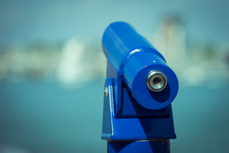 portsmouth: A telescope at the port in Portsmouth. Stock Photo