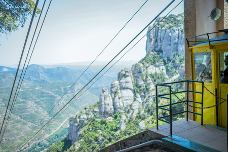 descend: A cable car waiting to descend at Montserrat. Stock Photo