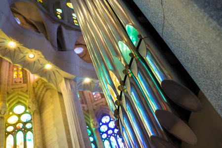 barcelona cathedral: An organ with pipes in a Barcelona cathedral. Editorial