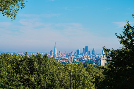 south london: The London skyline taken from a hill in south London. Stock Photo