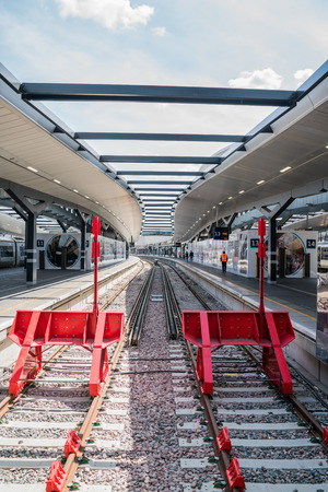 end of the line: The end of the line at London Bridge station in London. Stock Photo