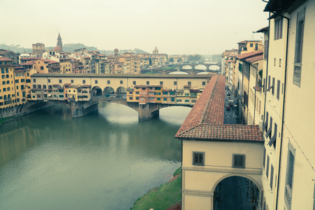 arno: Looking down the river Arno in Florence in autumn.