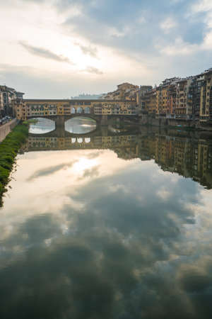 river arno: Looking down the overcast river Arno in Florence.