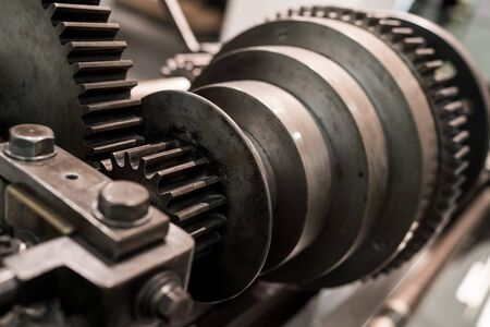 metal parts: A close up of an old cog style machine. Stock Photo