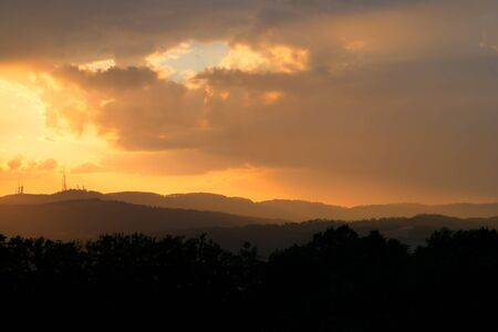 A nice sunset in the Italian countryside in summer. Reklamní fotografie