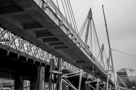 struts: A shot of the golden jubilee bridge in London. Stock Photo