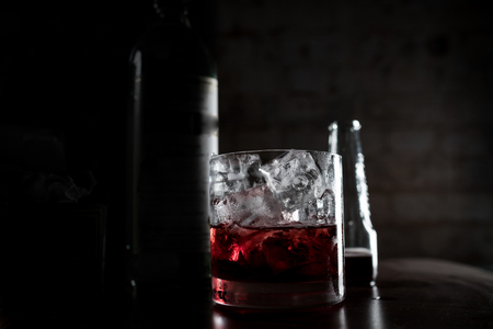 A close up of a red cocktail.