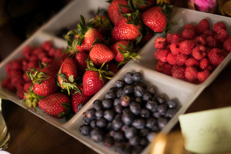 A selection of berries at Easter on a dining table