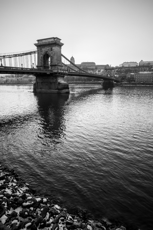 The Szechenyi Chain Bridge in central Budapest.