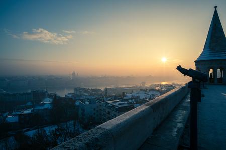 A shot of Budapest sunrise taken from Fishermans Bastion.