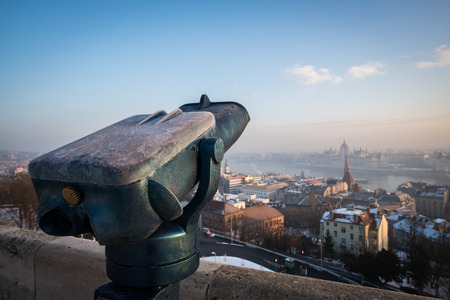 A shot looking down onto Budapest with a telescope.