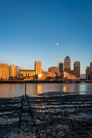 A portrait shot of the mud bank and Canary Wharf. Reklamní fotografie