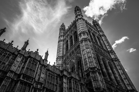 Looking up at Westminster palace in London during Brexit campaign.