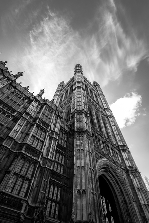 A portrait shot of Westminster palace during Brexit campaign. Redakční