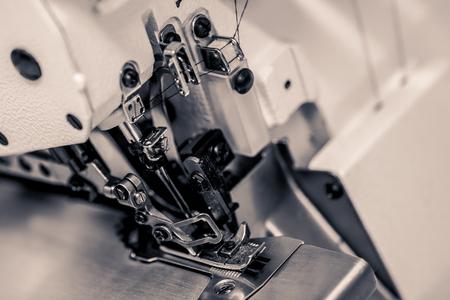 A sewing machine shot in stark mono.