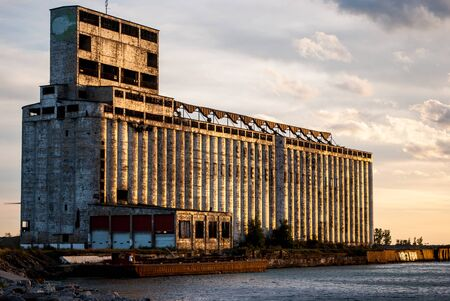 industrial: Photograph of the industrial pier for one of Buffalos famous grain elevators that was abandoned a long time ago. Stock Photo