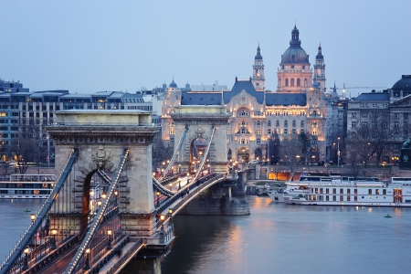 obuda: Chain bridge in Budapest with the lights on Stock Photo