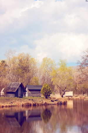 Cabins on the lake shore photo