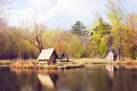 fishing cabin: Lodges on the shore of lake