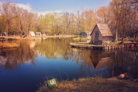 fishing cabin: Lodge on the lake shore