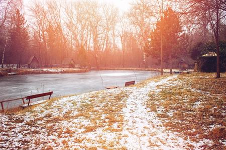 frozen lake: Frozen lake in winter