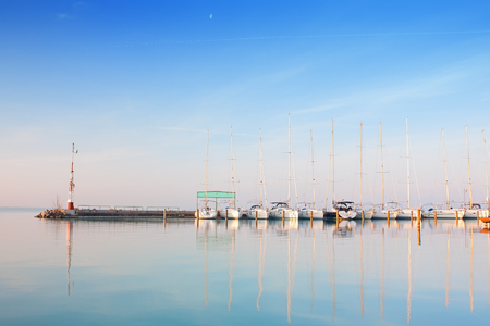 balaton: Port with boats anchored on Lake Balaton