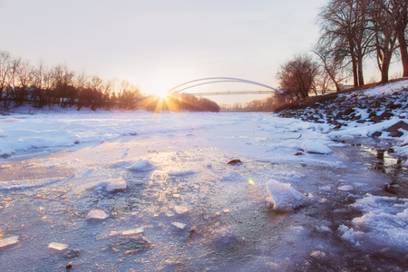 Frozen river in winter up Stock Photo