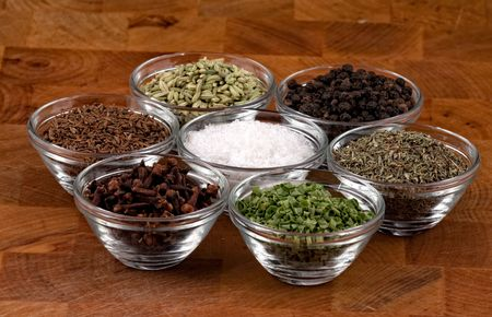 indian spices on wooden table photo