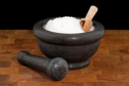 sel: Mortar and pestle with salt, fleur de sel