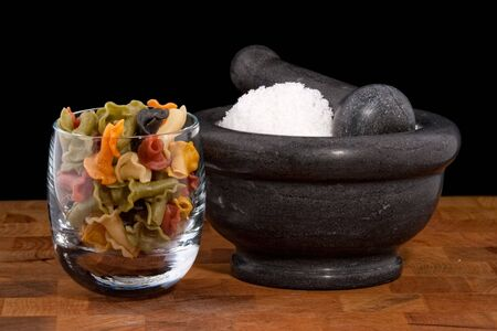 sel: Mortar and pestle with salt, fleur de sel and noodles