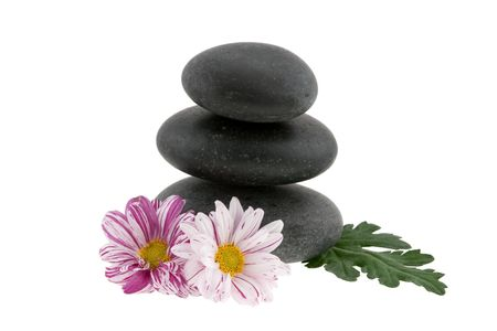 Hot stones with flowers photo