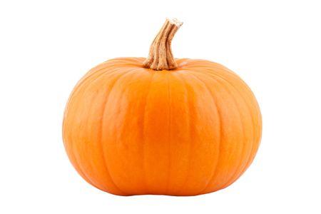 zucche halloween: unico zucca, isolato su sfondo bianco Archivio Fotografico