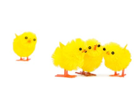 outsider: three chick friends ignoring poor chick outsider, isolated on white background Stock Photo