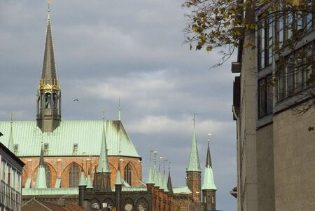 rathaus: church in luebeck, germany Stock Photo