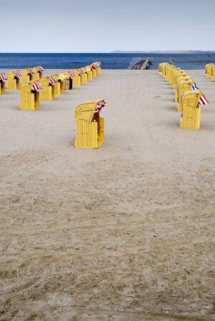 letting: beach-basket Stock Photo