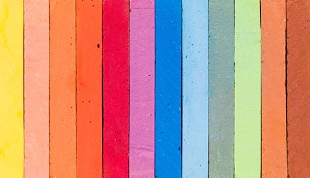 chalks: Row of colorful chalks