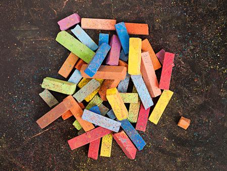 chalks: Colorful chalks on a blackboard