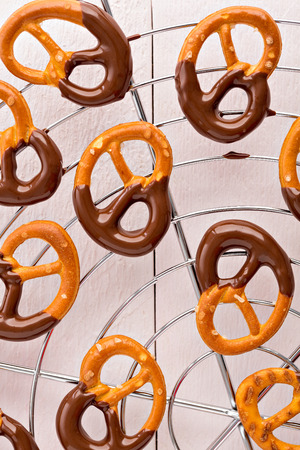 coated: Pretzels coated with dark chocolate