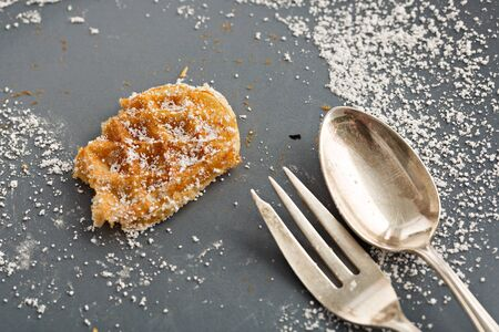 powdered: Hot waffle with powdered sugar Stock Photo