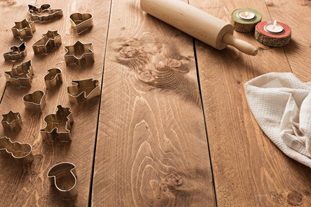 cookie cutters: Cookie cutters on wooden table