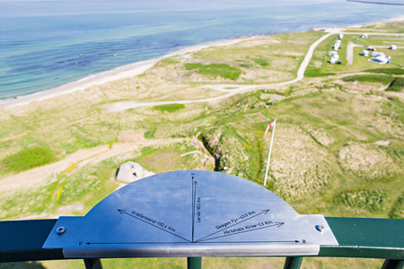 hirtshals: A signpost in Denmark showing distances to cities of Norway and Denmark Stock Photo