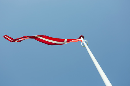 Flag of Denmark in the wind