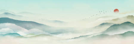 Chinese style classical traditional ink landscape painting. Watercolor landscape painting of gentle mountains